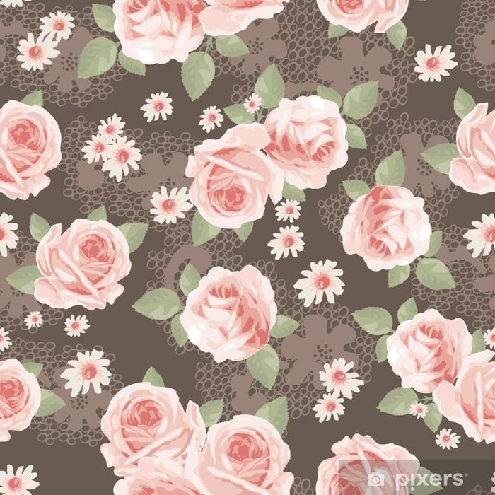 Papier peint vinyle Roses vintage sur fond transparent dentelle - iStaging 2