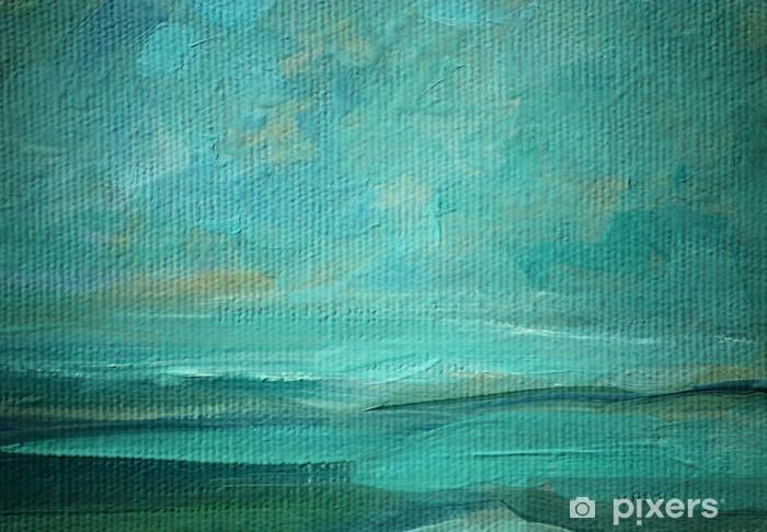 Vinilo para Nevera Mar al óleo del paisaje en un lienzo, ilustración, pintura - Artes y creación