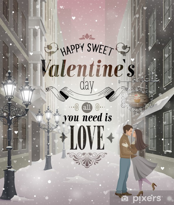 Valentine`s Day greeting card - snowy romantic street. Vinyl Wall Mural - International Celebrations