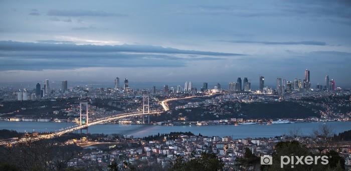 Vinyl Fotobehang Bosporus en brug bij nacht, Istanboel - Stedelijk
