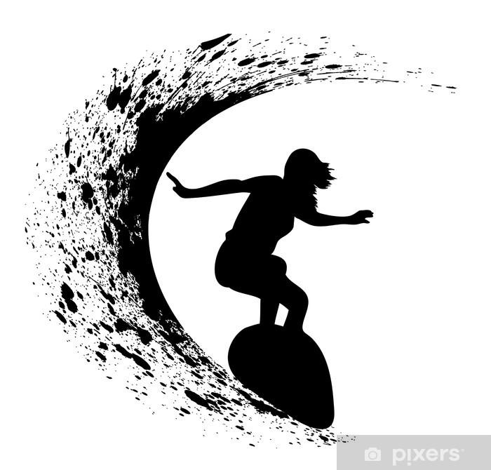 Surfer Silhouette On Grunge Background Wall Mural Vinyl