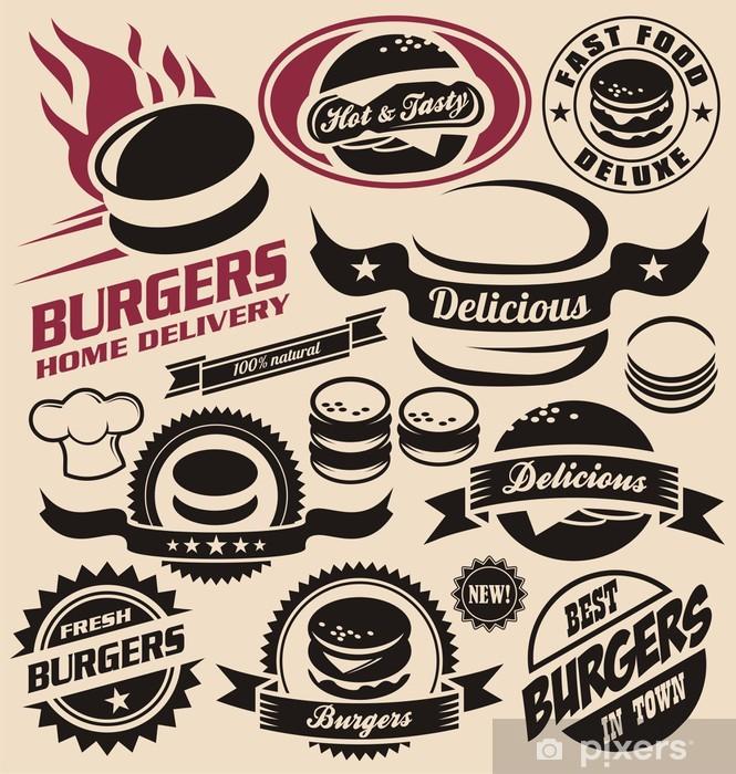 Sticker pour table et bureau Burger et restauration rapide icônes, des étiquettes, des signes, des symboles - Repas