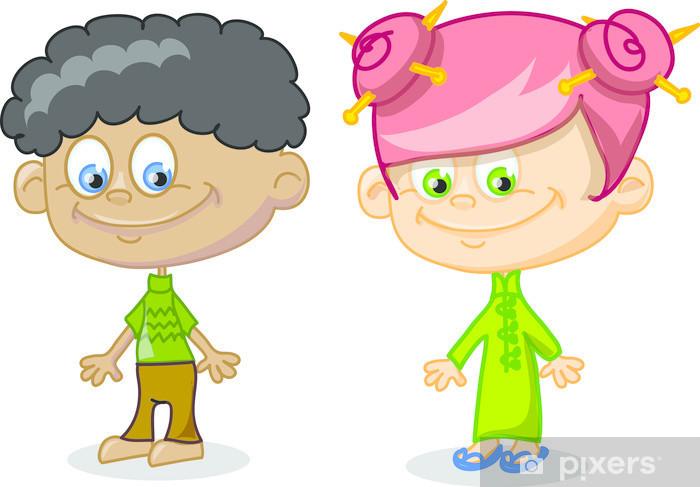 Sticker Pixerstick Ensemble de mignons de bande dessinée enfants - Enfants