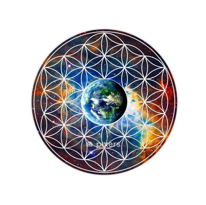Sticker mural Blume des Lebens - Erde - Heilige Geometrie - Sticker mural