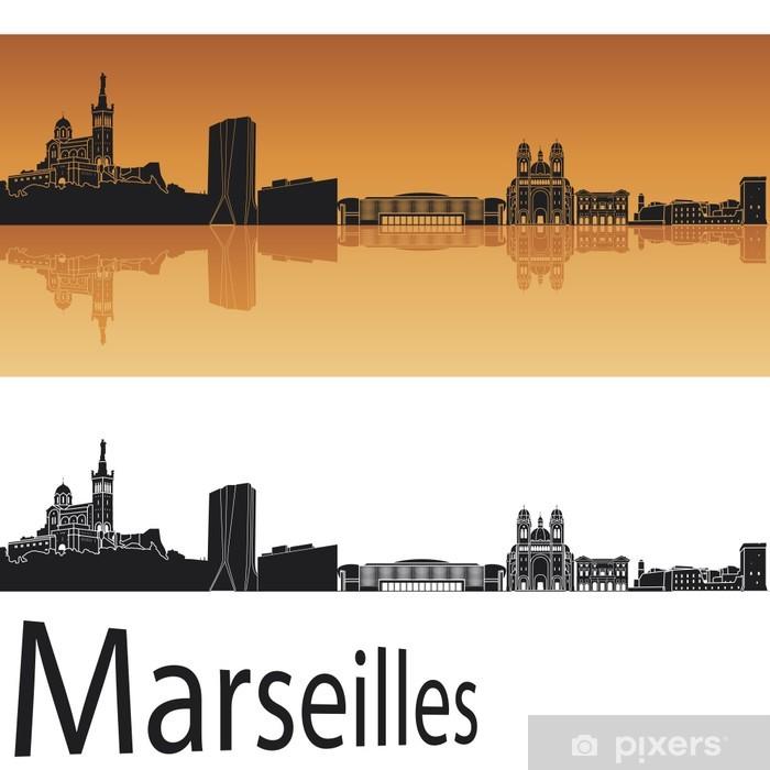 Fototapeta winylowa Marsylia skyline w pomarańczowym tle - Europa