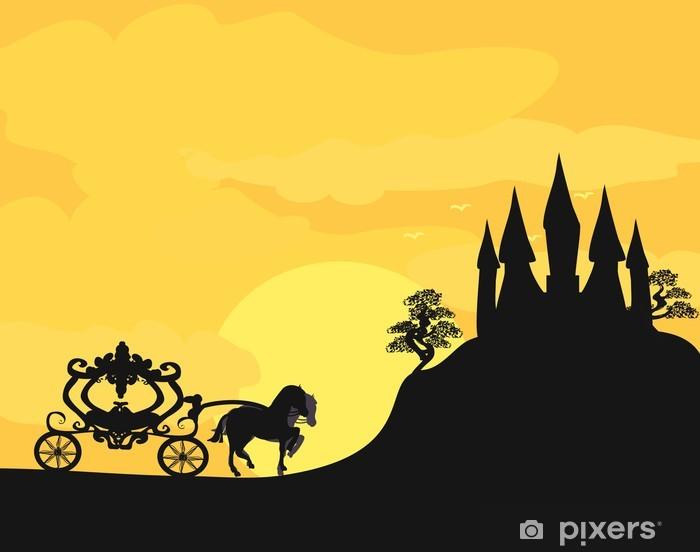 Papier peint vinyle Transport au coucher du soleil. Silhouette d'une calèche et un medieva - Monuments