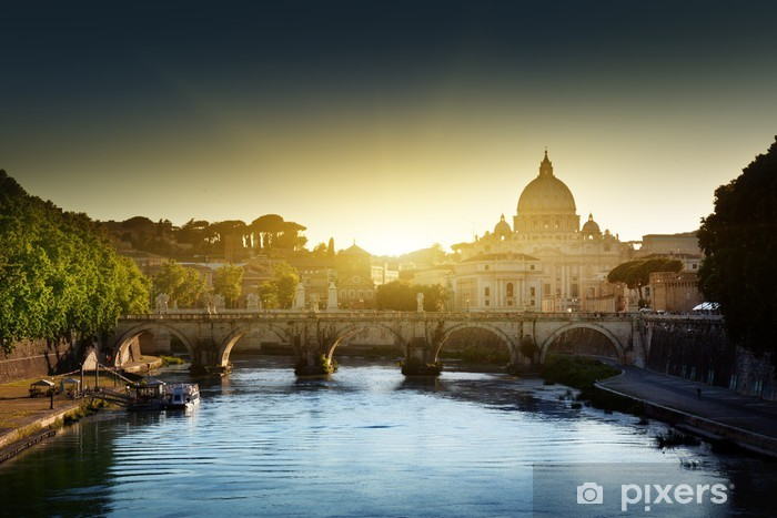 Naklejka Pixerstick Widok na Tybrze i St Peter Bazylika w Watykanie - Miasta europejskie