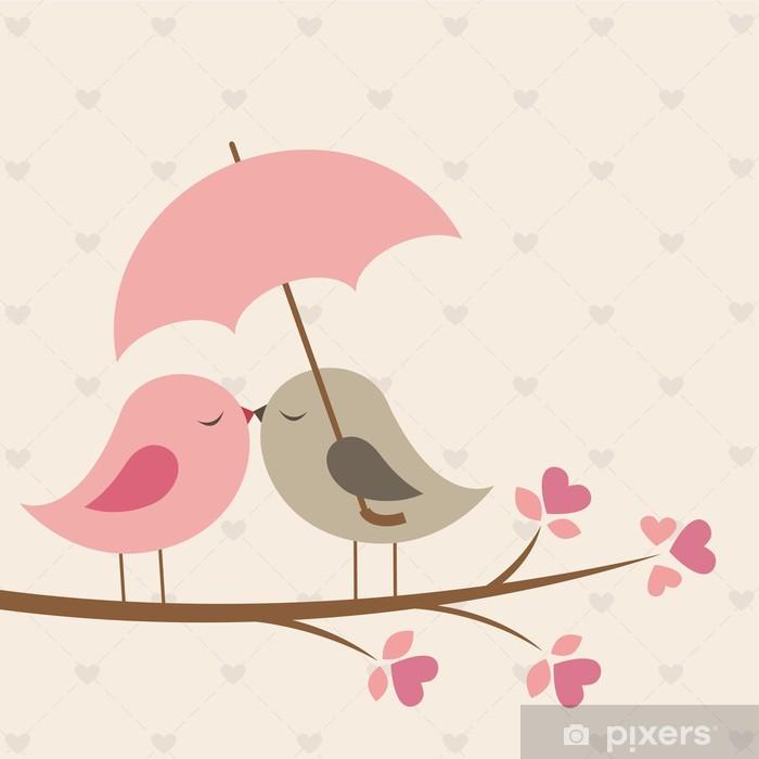 Nálepka Pixerstick Ptáci pod deštníkem. Romantický karta - Témata