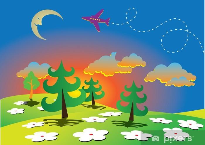 Sticker Pixerstick Paysage de bande dessinée de printemps avec la lune - Saisons