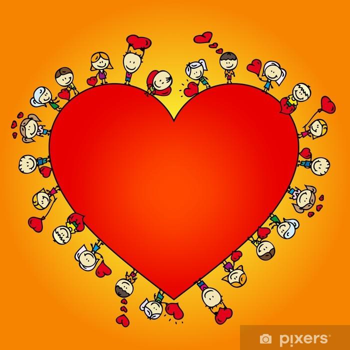 Naklejka Pixerstick Valentine karty z ramki Doodle dzieci z miłości serc - Święta międzynarodowe