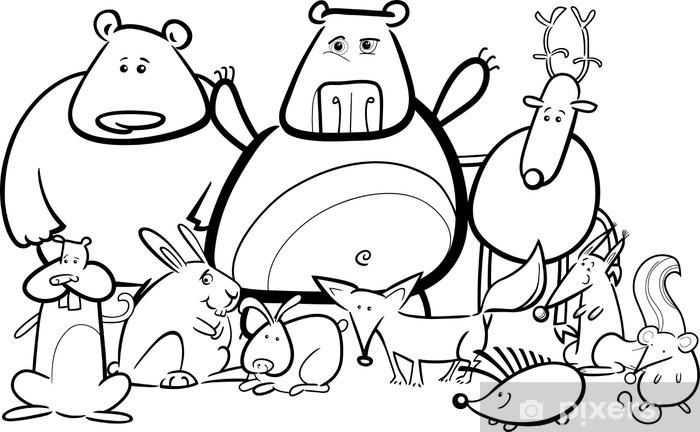 Boyama Kitabı Için Vahşi Hayvanlar Grup Karikatür Duvar Resmi