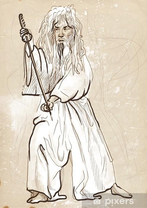 Fototapeta winylowa Budo, japońska sztuka walki - akwarela imitacja, stary papier - Sporty indywidualne