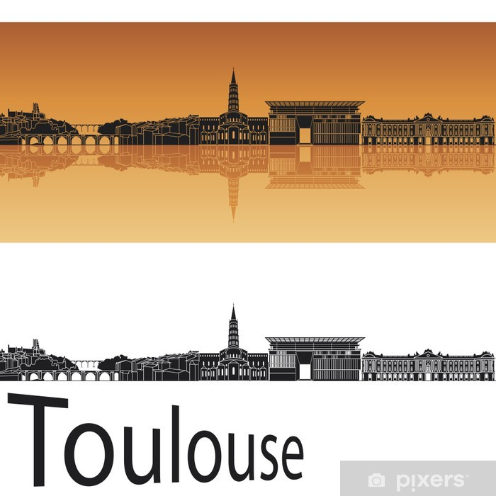 Papier peint vinyle Toulouse horizon en fond orange - Europe