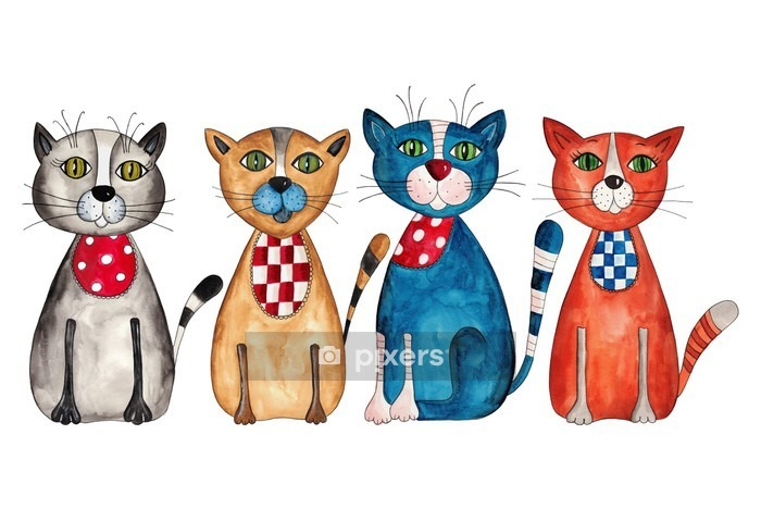 Sticker mural Cats. Aquarelle sur papier - Destin