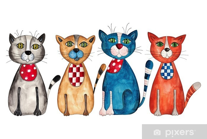 Naklejka Pixerstick Koty. Akwarele na papierze - Przeznaczenia