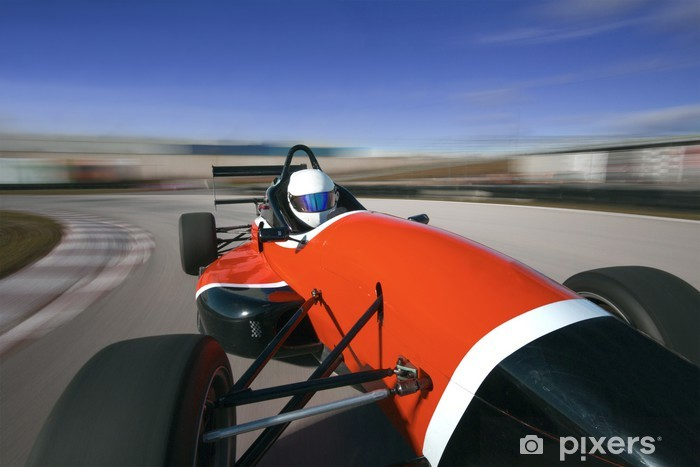 Naklejka Pixerstick Czerwony samochód wyścigowy jazdy z dużą prędkością w circuit.Camera na pokładzie - Tematy