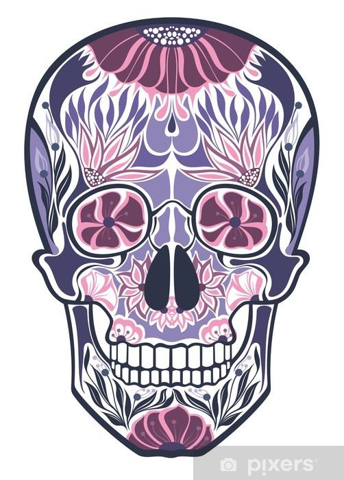 Papier peint vinyle Crânes d'ornement floral - Art et création