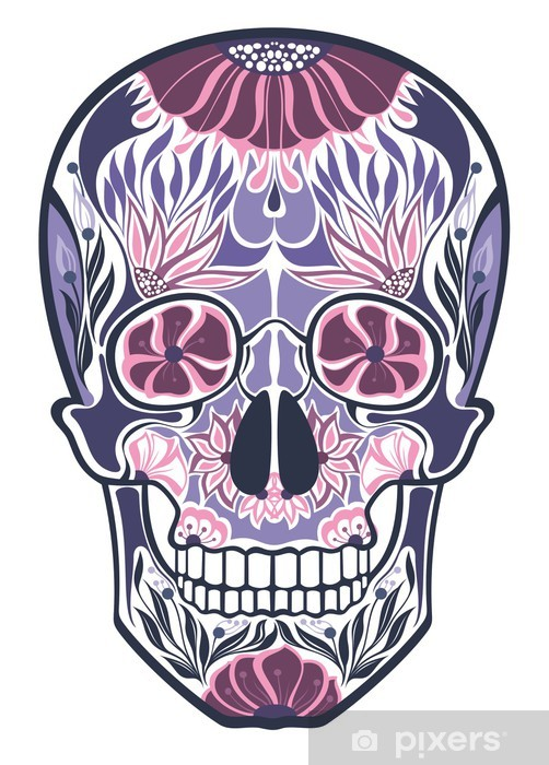 Floral ornamental skulls Vinyl Wall Mural - Art and Creation
