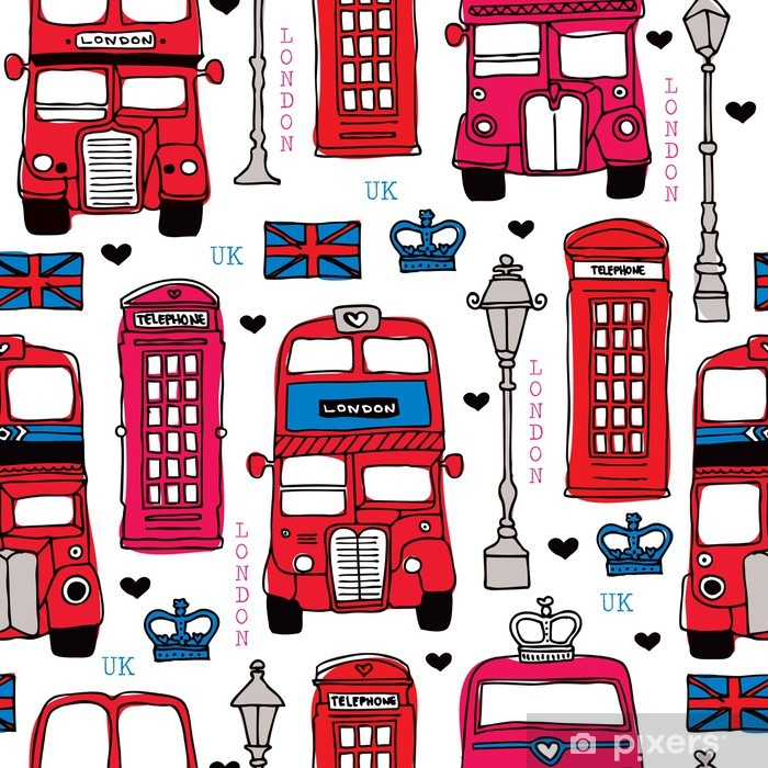 Seamless love London UK red travel icon background pattern Vinyl Wall Mural - Hobbies and Leisure
