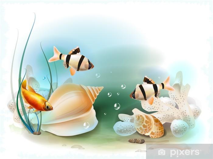 Nálepka Pixerstick Ilustrace tropického podmořského světa - Vodní a mořský život