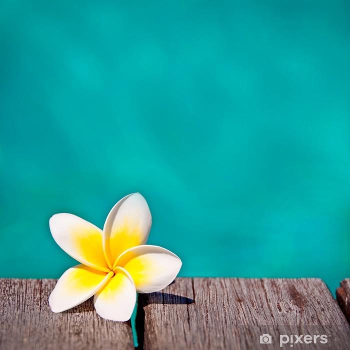 Sticker Pixerstick Frangipanier, fond piscine turquoise carré - Vacances
