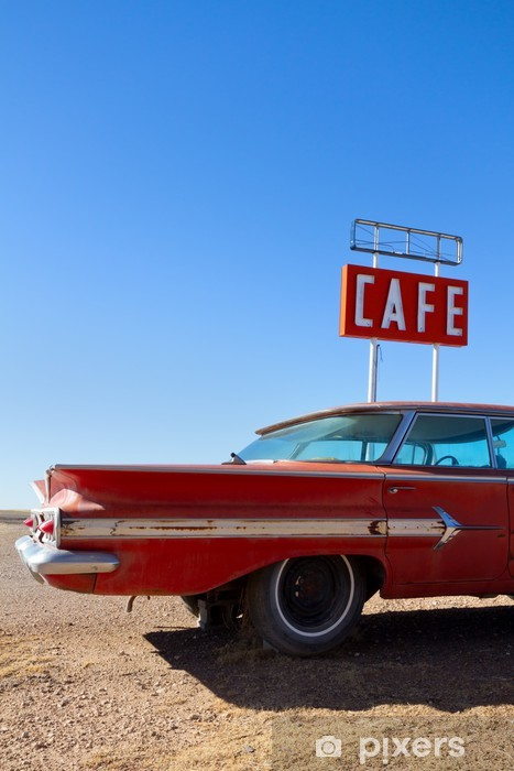 Cafe Sign and Old Car on Route 66 Vinyl Wall Mural - Shops