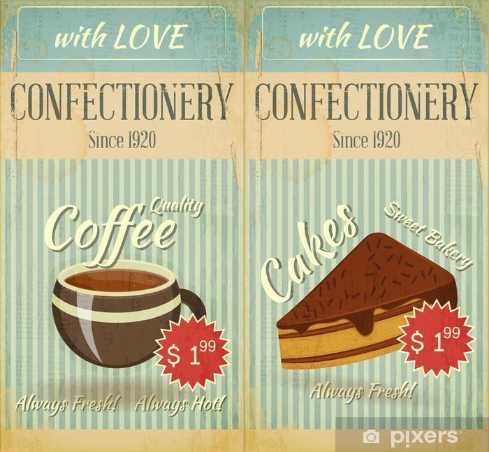 Plakat Vintage dwa Cafe Karty menu deser słodycze - Posiłki