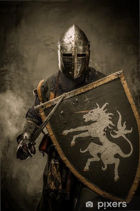 Papier peint vinyle Chevalier médiéval avec l'épée et le bouclier contre mur de pierre - Chevaliers