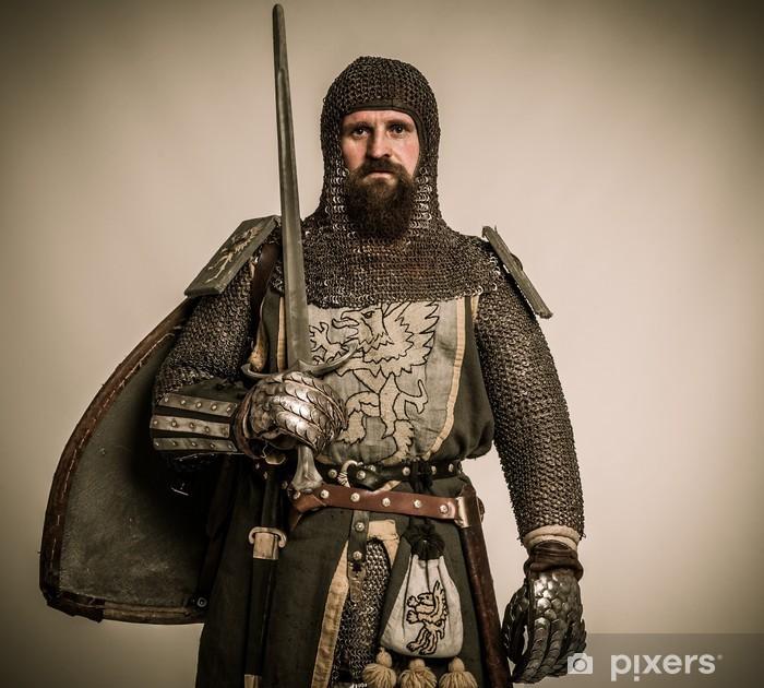 Papier peint vinyle Chevalier médiéval avec l'épée et le bouclier - Chevaliers