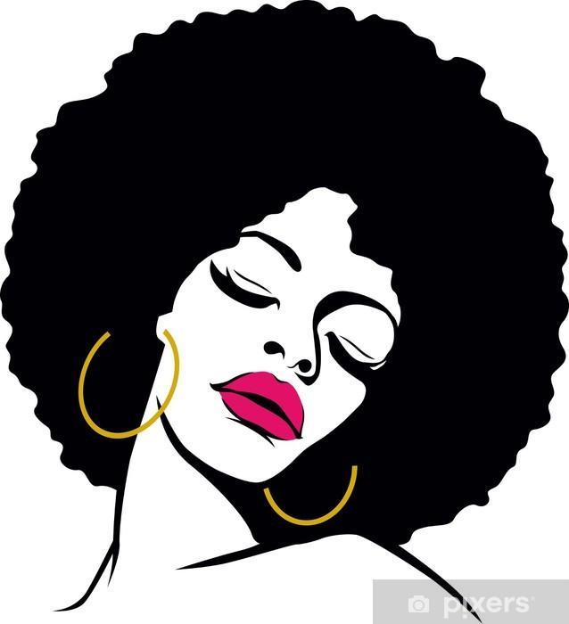 Sticker Pixerstick Hippie pop art femme de cheveux afro - Thèmes