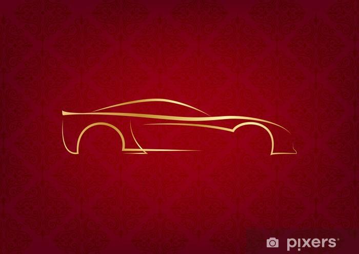 Naklejka Pixerstick Streszczenie kaligrafii samochód logo na czerwonym tle - Tematy