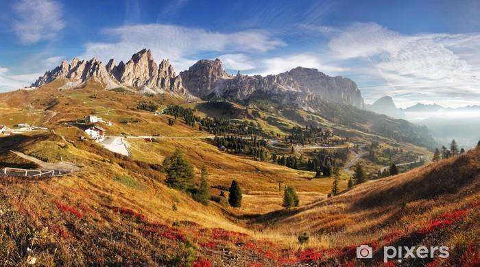 Fotomural Estándar Panorama de la montaña en Italia Alpes Dolomitas - Passo Gardena - Temas