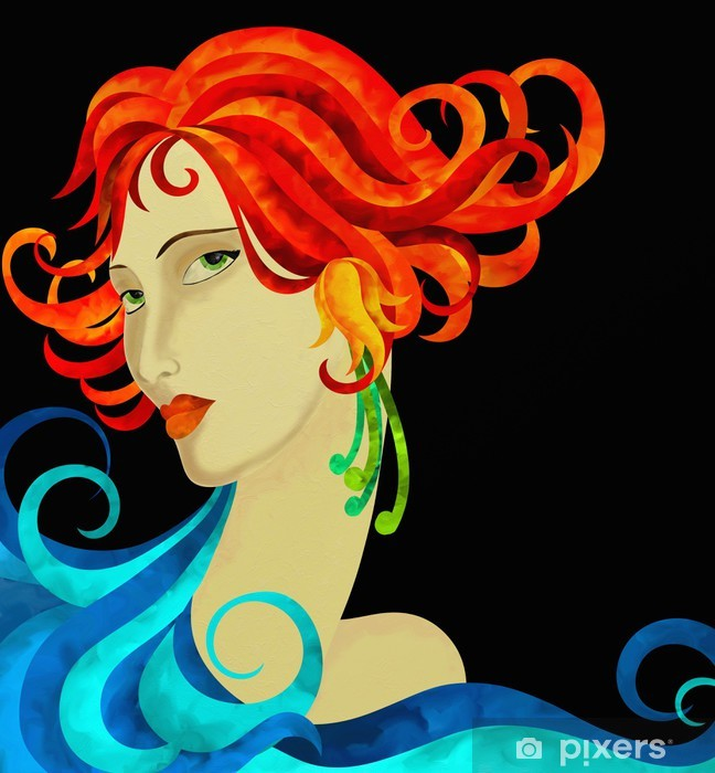 Adesivo Viso di donna con capelli rossi • Pixers ...
