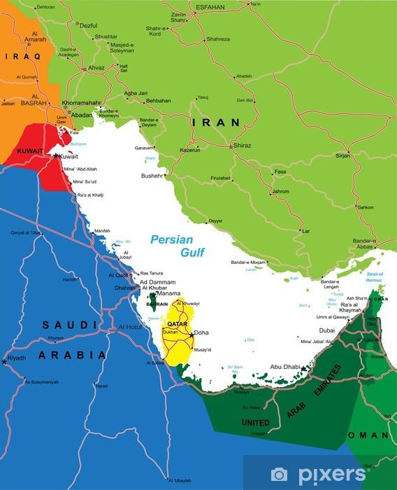 Fototapete Persischen Golf Karte Der Umgebung Pixers Wir