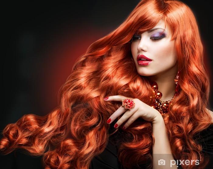 Red Hair. Fashion Girl Portrait. long Curly Hair Pixerstick Sticker - Fashion
