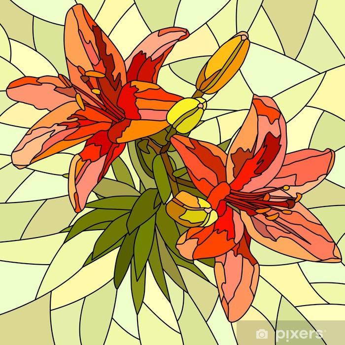 Vector illustration of flower red lilies. Pixerstick Sticker - Flowers