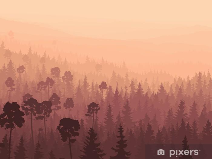 Vinilo Pixerstick Wild madera de coníferas en niebla de la mañana. - Temas