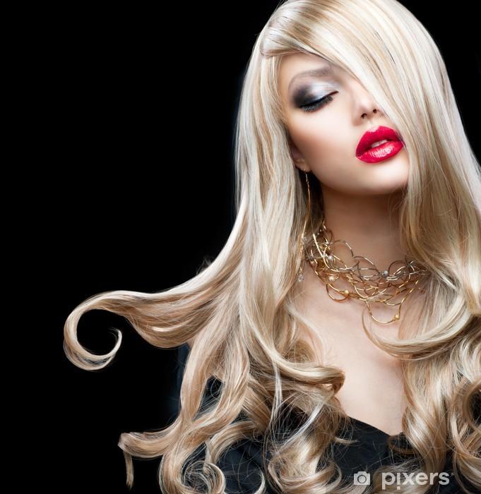 Sticker Pixerstick Cheveux blonds. Belle fille blonde sexy -
