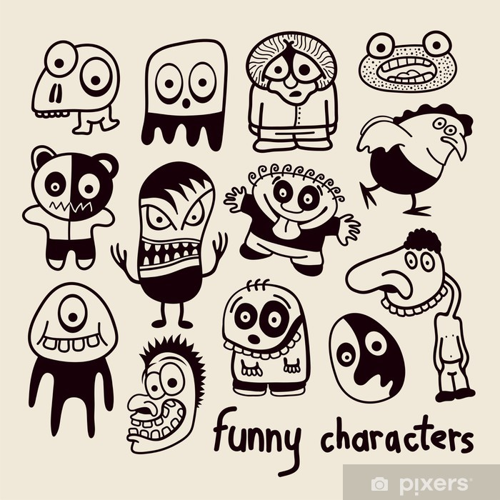 Set of funny cartoon characters  Poster