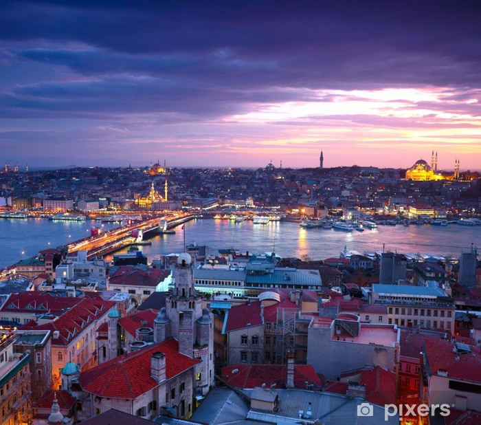 Istanbul Sunset Panorama Pixerstick Sticker - Themes