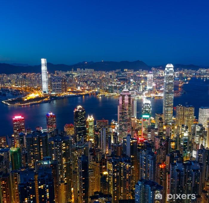 Naklejka Pixerstick Hong kong noc miasto - Pejzaż miejski