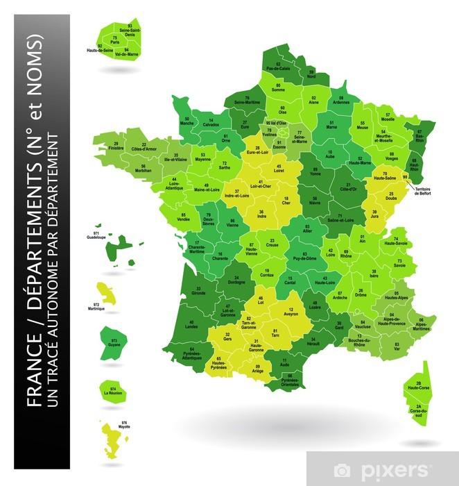 Naklejka Pixerstick Francja - Wydziały - Miasta europejskie