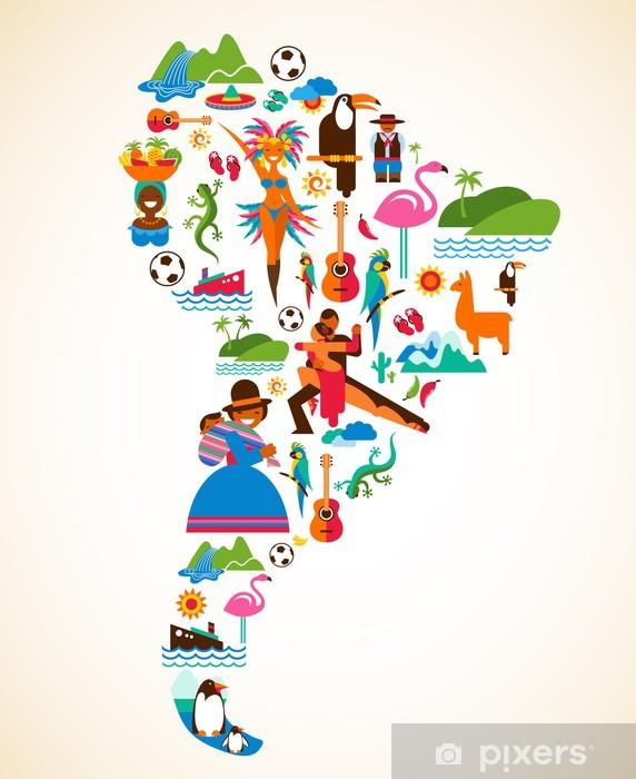 Fotomural Estándar América del Sur amor - ilustración del concepto con los iconos vectoriales - Brasil