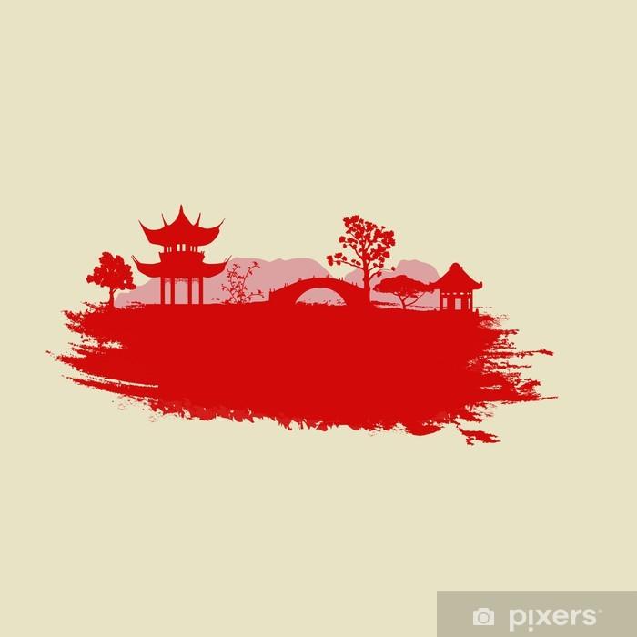 Plakat Stary papier z Azji Krajobrazu - Azja