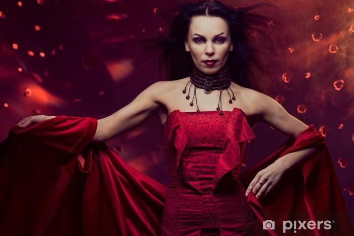 Fototapet Vacker vampyr kvinna i röd klänning • Pixers® - Vi lever ... bbd7334c66977