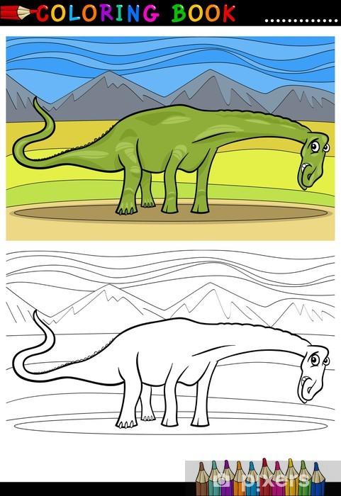 Karikatür Diplodocus Dinozor Boyama çıkartması Pixerstick Pixers