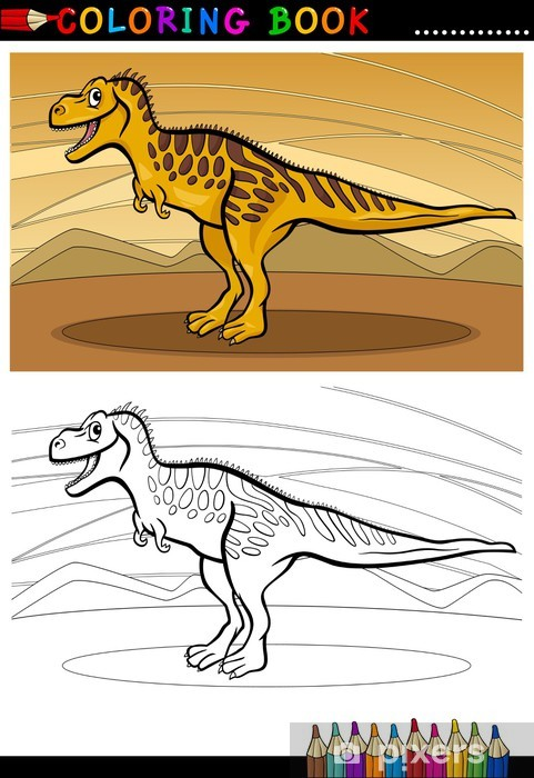 Coloriage Dinosaure Sur Ordinateur.Sticker Pour Ordinateur Portable Tarbosaurus Dinosaure Pour Livre De