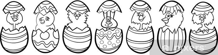 Vinilo Pixerstick Pollos de los huevos de Pascua de dibujos animados ...