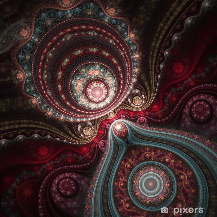 Lacy colorful clockwork pattern, digital fractal art design Framed Poster - Backgrounds