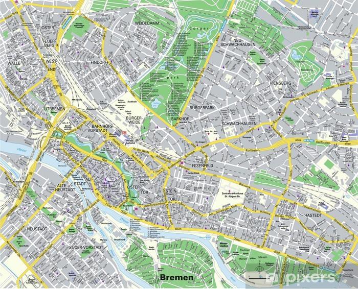 Fototapeta winylowa Citymap Bremen - Europa